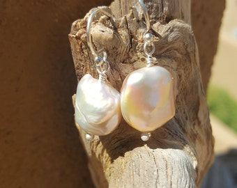 Baroque, champagne, freshwater pearl earrings