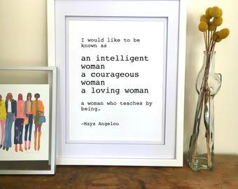 Maya Angelou Quote Print - Inspirational Wall Art Maya Angelou Print Maya Angelou Poster Typewriter Print Feminist Art Inspirational Quote
