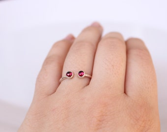 Garnet Two Stone Open Faced Dual Ring