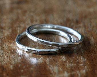 Set of 2 Hammered Stacking Rings in Sterling Silver, Size 2 to 15, Textured Rings, Stopper Rings, Stack Rings, Womens Rings, Unisex Rings