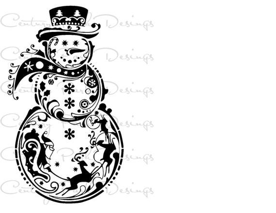 Schneemann mit Weihnachtsmann & Rentier SVG / JPEG / PNG