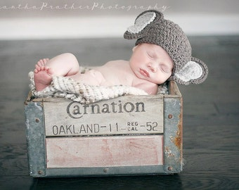 Baby Elephant Hat -- Taupe Coffee Baby Hat -  Newborn Photo Prop