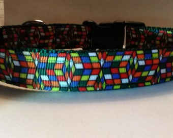 Handmade Rubik's cube inspired dog collar