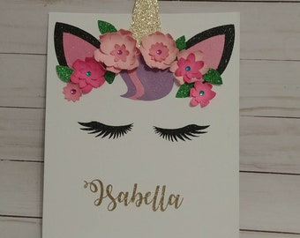 Unicorn canvas with 3d flowers and personalized name