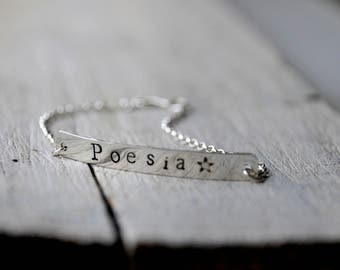 Tag Bracelet, sterling silver tag with personalised charm and handmade clasp closure
