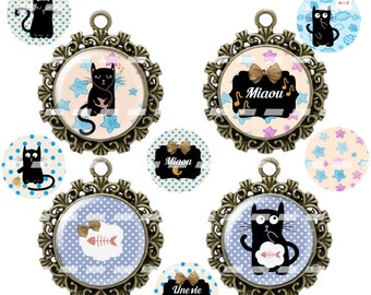 60 digital images for cabochon Une vie de chat cat (25,18x25,20,13x18mm)