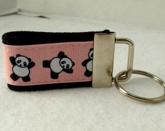 Panda Key Fob - Pink Mini Key Chain - Tumbling Panda Zipper Pull - Pandas Mini Keychain