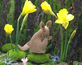 Kangaroo Kit, felt kangaroo kit, DIY sewing kit, beginner sewing, hand-stitching, Kangaroo ornament, crafts for kids, plush Kangaroo