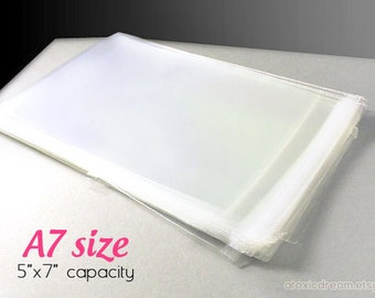 """100 Clear Cello Bags - Fits 5""""x7"""" prints or A7 cards -  Self-sealing"""