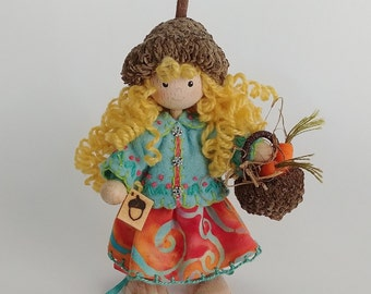Acorn-Capped Bendy Doll with Carrot filled Acorn Basket