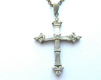 STERLING Silver DIAMOND Look Cross, 925 Hallmarked Cross & Silvertone Neck Chain, Sterling Crystal Cross Necklace, Designer Sterling Cross