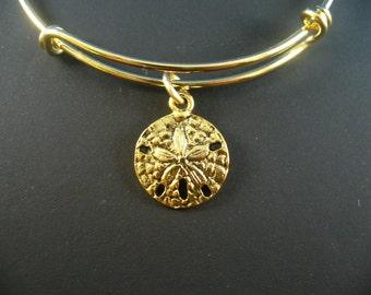 Golden Sand Dollar Charm, Gold Bangle Bracelet, Adjustable Bangle, Trendy Style, Gift For Her