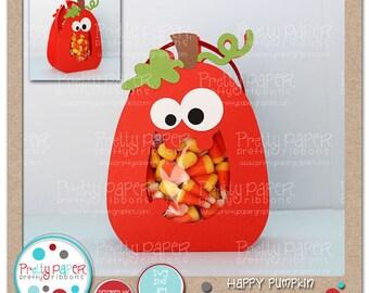 Happy Pumpkin Treat Bag Cutting Files & Clip Art - Instant Download