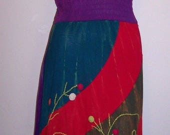Rising International Dress L Boho Hippie Kaberi Embroidered Gypsy Peasant Large