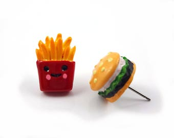 Hamburger and French Fry Stud Earrings w/ Stainless Steel Posts - Kawaii Jewelry - Fast Food Burger Fries Earrings - Miniature Food Jewelry