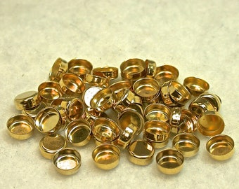 Vintage Gold Plated Bezel Setting New Old Stock 6mm round pkg24 m125
