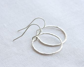 Silver hoop earrings - sterling silver hammered circles - silver dangle earrings - handmade jewelry - Mother's Day gift idea,  gift for her