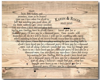 Personalized Rustic Anniversary, Wedding Gift - Customized Wedding Song present - Any song lyrics ready to hang CANVAS - wall decor bedroom