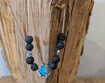 Blue essential oil diffuser bracelet silver chain and lava beads
