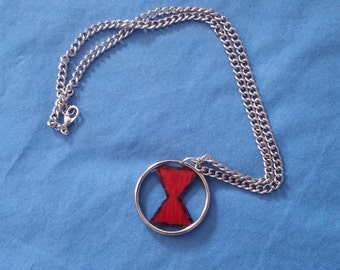 Black Widow Logo Key chain Necklace Upcycled Handpainted