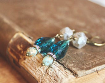 Peacock teal blue and rustic metalic silver beaded dangle earrings, Brianne