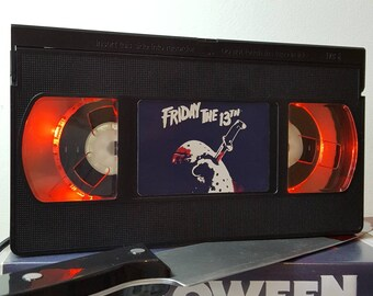 Retro VHS Lamp Friday 13th Night Light Table Lamp, Thriller, Horror Movie . Order any movie! Great personal gift. Man Cave. Mothers Day