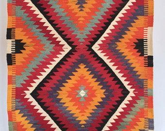 Boho Kilim/Kilim rug. Hand-woven from the region around Antalya. 140 x 88 cm. Pure virgin wool. Unused, excellent condition.