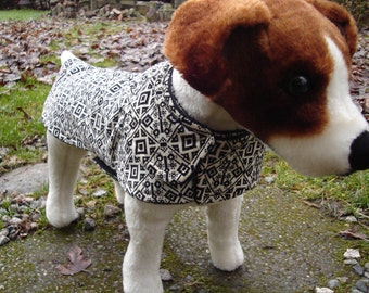 Dog Coat - Black and Cream Corduroy Coat- Size Small- 12 to 14  Inch Back Length - Or Custom Size