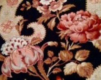 Antique Vintage French Fabric 1880's, 2.6 yards