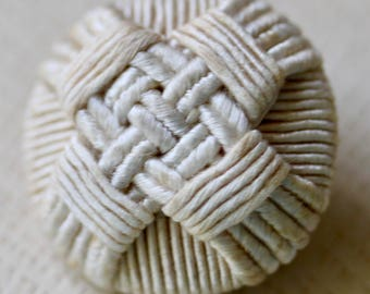 Beige Wound Fabric Button