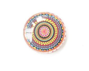 Glass cabochon 30mm multicolor ethnic