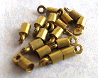 Tiny Vintage Raw Brass End Cap Findings (16X) (F533)