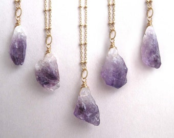 Raw Amethyst Necklace, Rough Amethyst Drop Necklace, February Birthstone Necklace, Gemstone Necklace, Gold Pendant Necklace