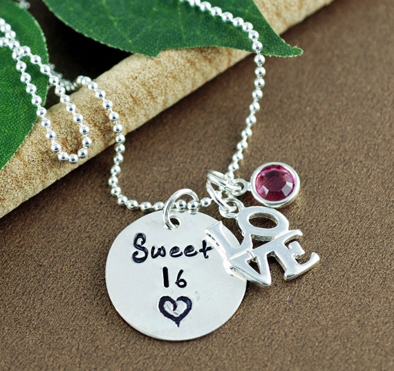 Personalized Sweet 16 Necklace, Gift for Sweet 16, Hand Stamped 16th Birthday Jewelry, Sweet 16 necklace for Daughter, Sweet 16 Gift