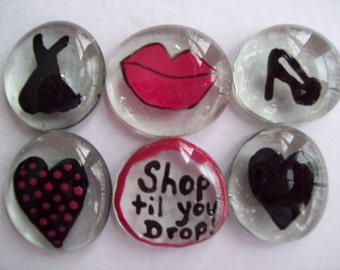 Last Chance SALE  Handpainted large glass gems party favors girly mix hearts lips dress shoes