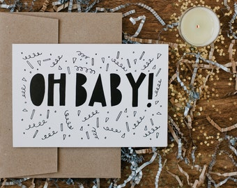 "New Baby 4""x6"" Greeting Card - Oh Baby!"