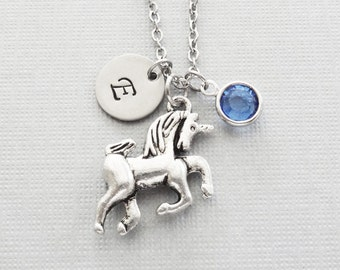 Unicorn Necklace, Mythical, Storybook, Fairy Tale Jewelry, Swarovski Birthstone, Silver Initial, Personalized, Monogram, Hand Stamped Letter