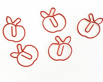Set of 5 Red Apple Paper Clips Large