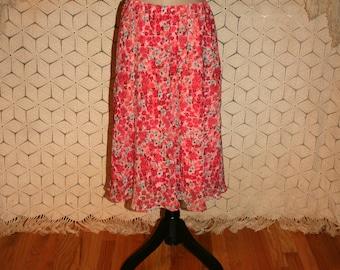 90s Chiffon Skirt Pink Floral Skirt Midi Skirt Large Romantic Boho Skirt Vintage Skirts 90s Clothing Womens Skirts Vintage Clothing