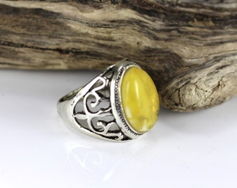 Genuine Baltic Amber MEN Ring, White color, Amber Jewelry, Silver plated & Natural Amber Ring, Amber gift 8.7 grams