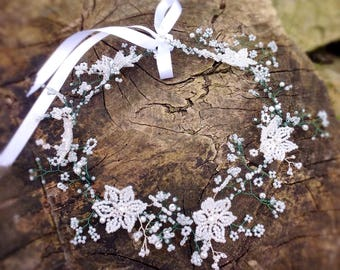 Flower crown, wedding crown, beaded flower crown,bridal headpiece, bridal crown, baby's breath wreath, crown, wedding hair vine, boho hair