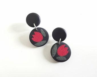 Black polymer clay earrings, tulips earrings,dangle earrings, drop earrings,stud earrings,post earrings,polymer clay jewelry