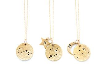 Zodiac Jewelry, Constellation Necklace, Zodiac Necklace,Celestial Jewelry,Personalized Necklace, Bridesmaid gift,Gift for her,Zodiac Gift