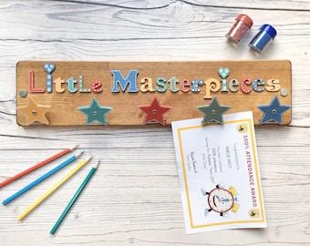 Kids Artwork Display | Little Masterpieces Art Display | Kids Art Hanger | Artwork Tidy | Kids Art Clipboard | Schoolwork Organiser