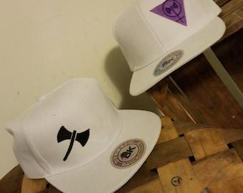 Labrys White Flatbrim Hats Purple or Black Embroidered