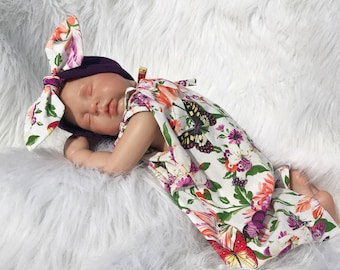 BABY Romper & Headband - Cotton Woven Fabric Cool Summer - PHOTO Prop - Every Day