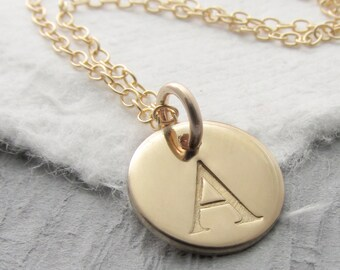 Initial Necklace Personalized 14k Gold, Solid Gold Charm Initial Necklace, Typewriter Font, 14k Solid Gold Necklace, Personalized Jewelry