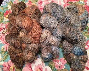 Sweater Quantity Handspun Dyed Alpaca Yarn