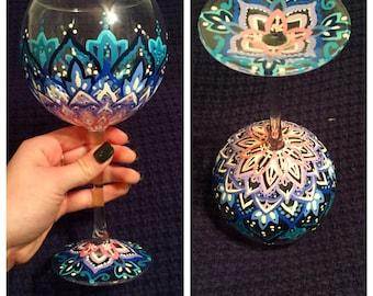 Custom Hand Painted Wine Glass with optional Monogram