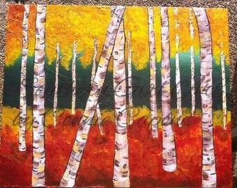 Fall aspens, original acrylic painting on a 16x20 canvas